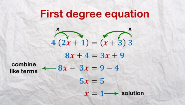 Equations. First degree equation